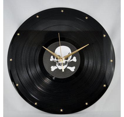 Horloge murale vinyl design originale calavera - Horloge murale originale ...